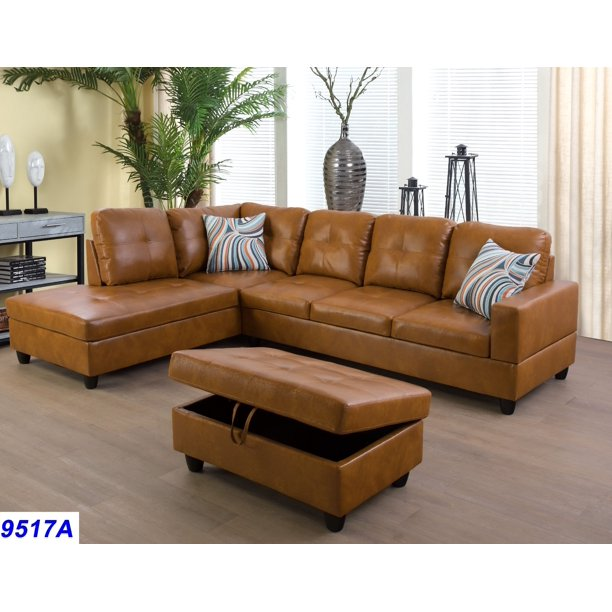 Wellington Ginger Faux Leather Sectional Sofa with Ottoman .