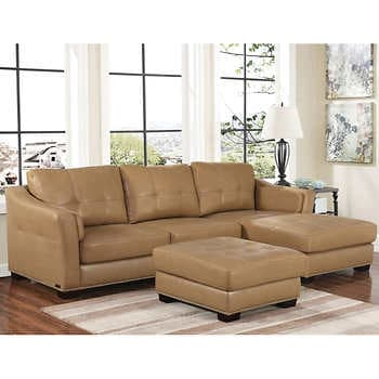 Chelsie Top Grain Leather Chaise Sectional and Ottom