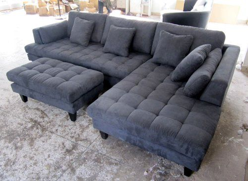 Amazon.com - 3pc New Modern Dark Grey Microfiber Sectional Sofa .