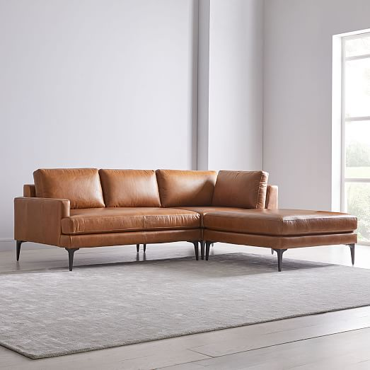 Andes Leather 3-Piece Chaise Section