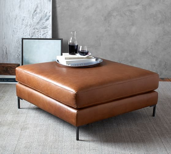 Jake Leather Sectional Ottoman | Pottery Ba