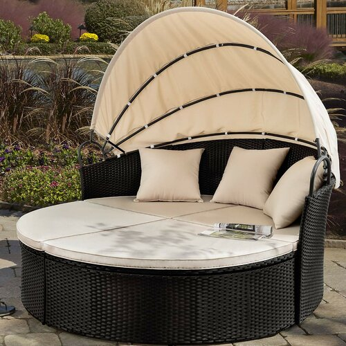 Freeport Park® Leiston Round Patio Daybed with Cushions & Reviews .