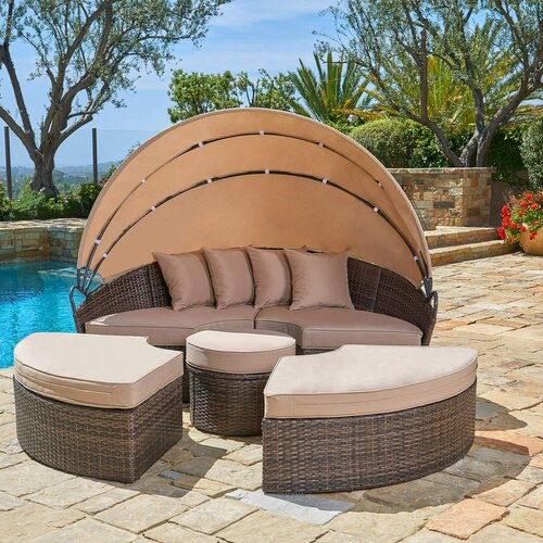 Brayden Studio® Behling Canopy Patio Daybed with Cushions .