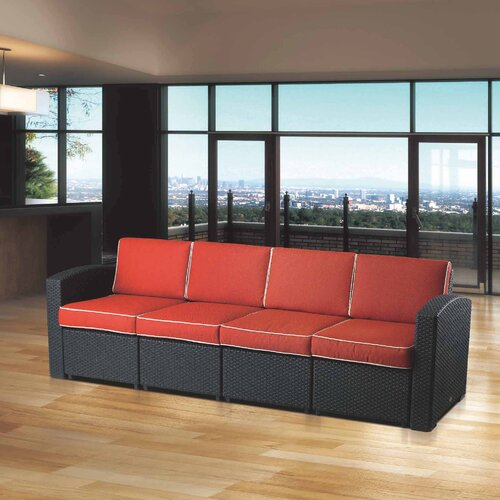 Brayden Studio® Loggins Patio Sofa with Cushions & Reviews | Wayfa