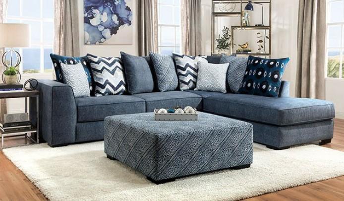 SM5146 2 pc Rosdorf park brielle blue microfiber sectional sofa .