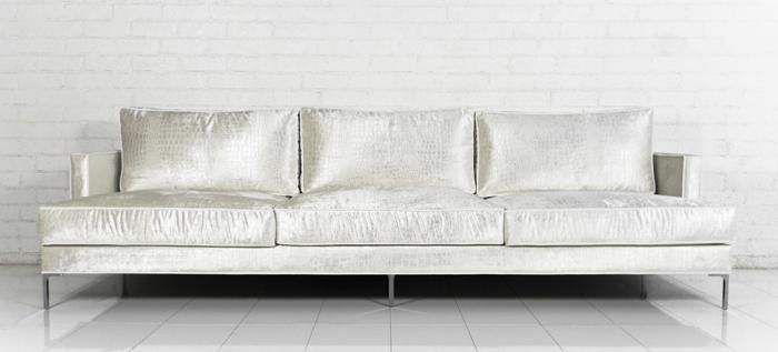 Down With Love Sofa in Cream Croc Velvet ROOM SERVICE 2300. 9ft .
