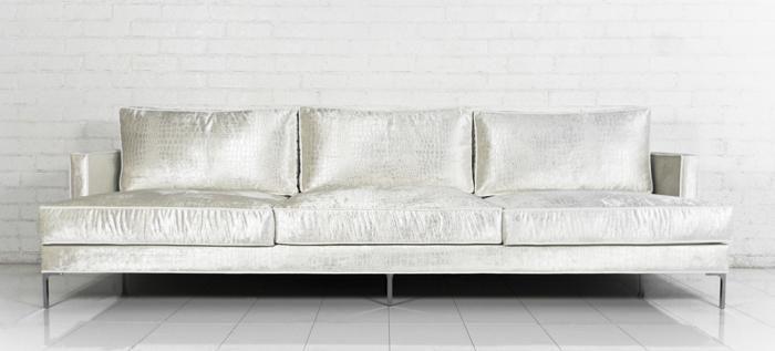 Down With Love Sofa in Cream Croc Velvet ROOM SERVICE 2300. 9ft .