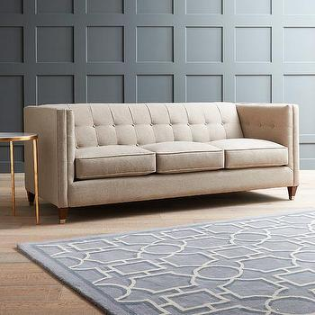 Contemporary Tufted Long Couch - Products, bookmarks, design .