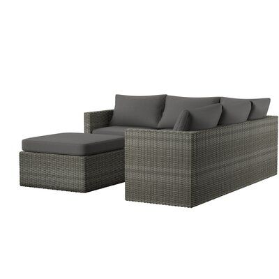Mercury Row Lorentzen Patio Sectional with Cushions | Gas fire pit .