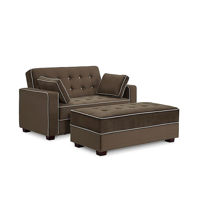 Sealy® Belize Convertible Loveseat and Ottoman with Storage in .