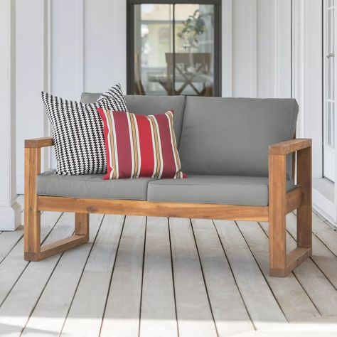 Lyall Loveseat with Cushion in 2020 | Rustic outdoor furniture .