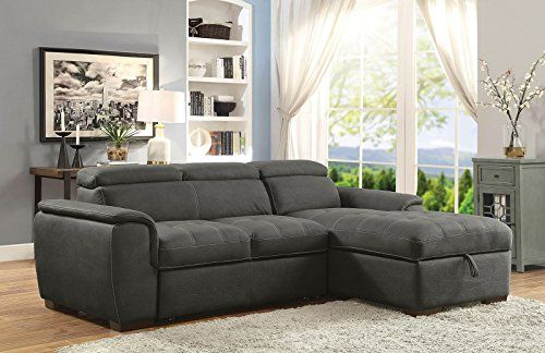Esofastore Sectional Sofa w Pull Out Bed Adjustable Headrest .