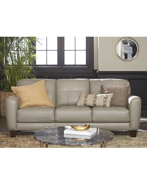 Furniture Kaleb Tufted Leather Sofa Collection, Created for Macy's .