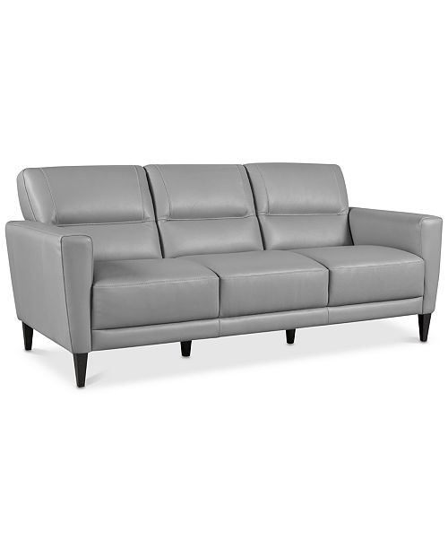 "Furniture CLOSEOUT! Tosella 80"" Leather Sofa, Created for Macy's ."