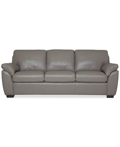 "Furniture Lothan 87"" Leather Sofa with 3 Cushions, Created for ."