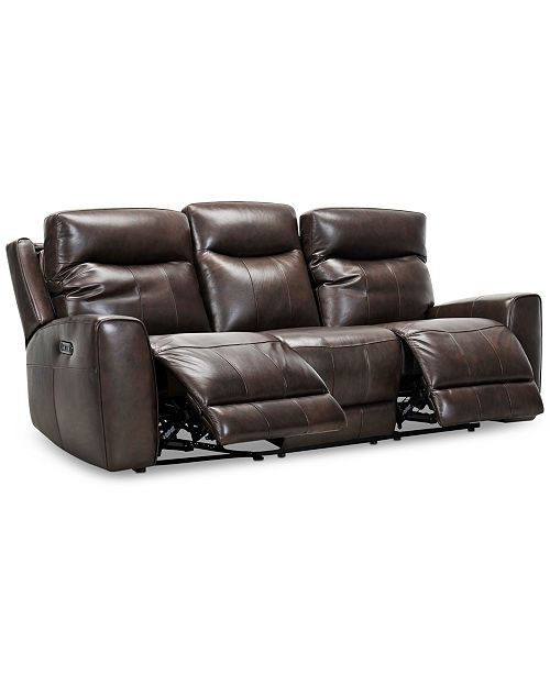 "Furniture Bitola 86"" Leather Dual Power Sofa, Created for Macy's ."