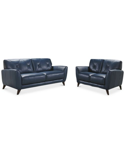 "Furniture Myia 82"" Leather Sofa and 62"" Loveseat Set, Created for ."