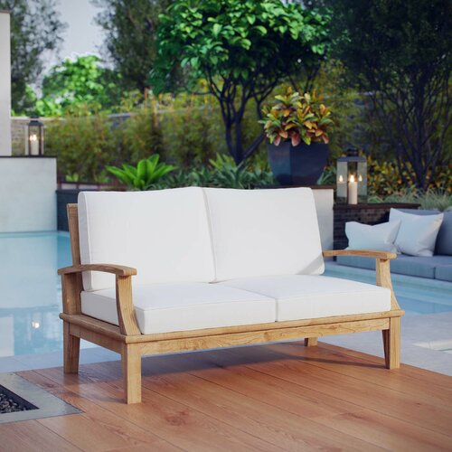 Midway Teak Loveseat with Cushions & Reviews | Joss & Ma