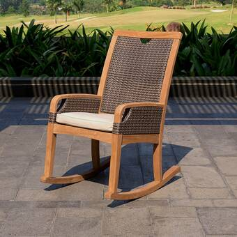 Bayou Breeze Mansfield Teak Rocking Chair with Cushions | Wayfa