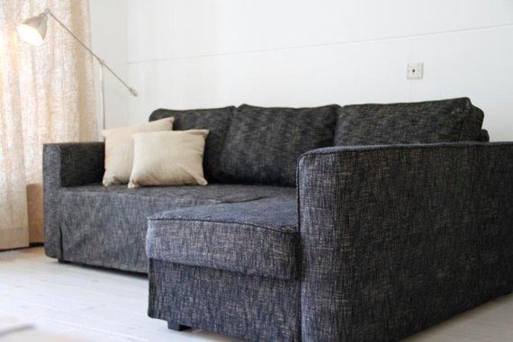 Custom IKEA Manstad Sofa Bed Cover (Snug Fit) in Nomad Black .