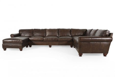 HR-IL8813/3PC - Henredon Leather Sectional | Mathis Brothers .