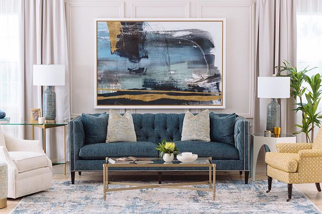 "Contemporary 92"" Tuxedo Sofa in Blue 