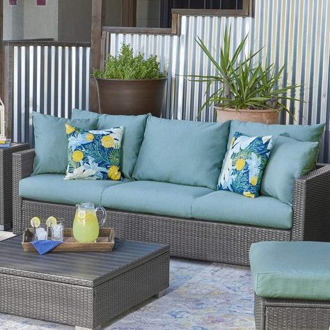 Ivy Bronx Mcmanis Patio Sofa with Cushion in 2020 | Pool patio .