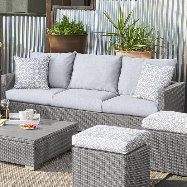 Mcmanis Patio Sofa with Cushion | Patio sofa, Wicker patio .