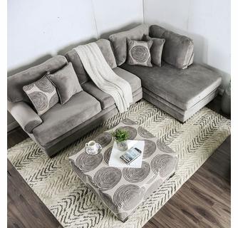 Bonaventura Gray Microfiber Sectional Sofa by Furniture of Ameri