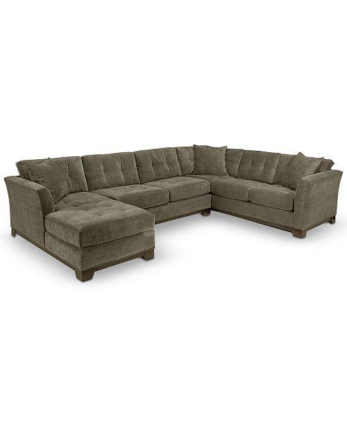 Furniture Elliot Fabric Microfiber 3-Piece Chaise Sectional Sofa .