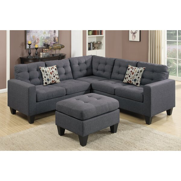 """Andover Mills Pawnee 84"""" Symmetrical Sectional with Ottoman ."""