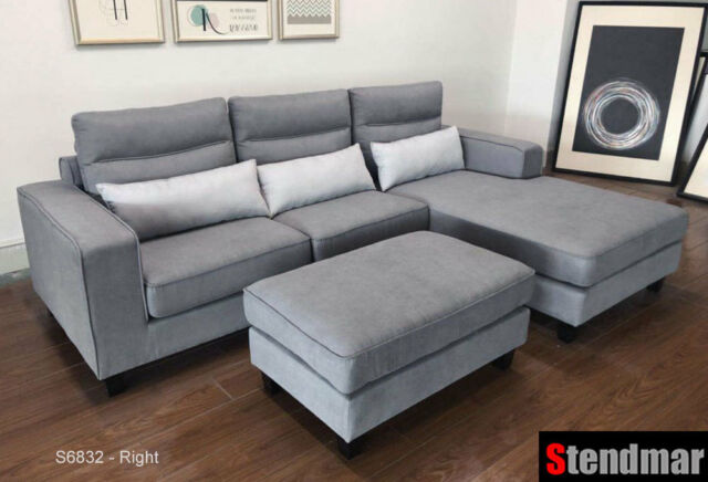 3-Piece Modern Grey Microfiber Sectional Sofa Set S6832RG for sale .