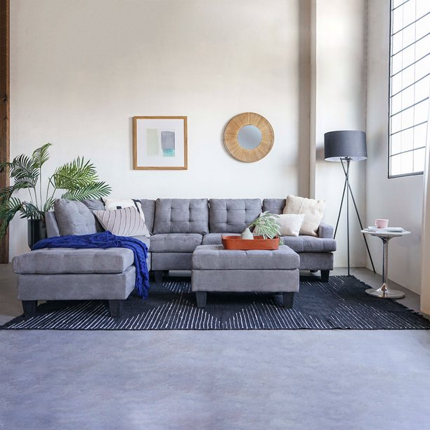 2 Piece Modern Reversible Grey Tufted Microfiber Sectional Sofa .