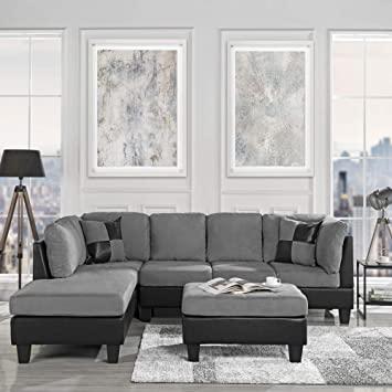 Amazon.com: Modern 3-Piece Microfiber/Faux Leather Sofa Set .