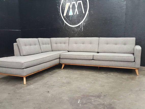 Mid Century Modern Sectional Chaise Sofa custom built | Mid .