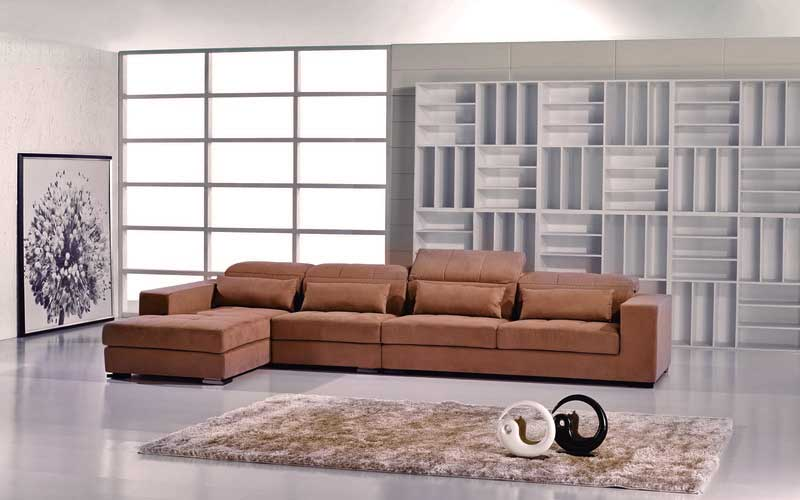 Contemporary Brown Microfiber Sectional Sofa | Fabric Sectional .