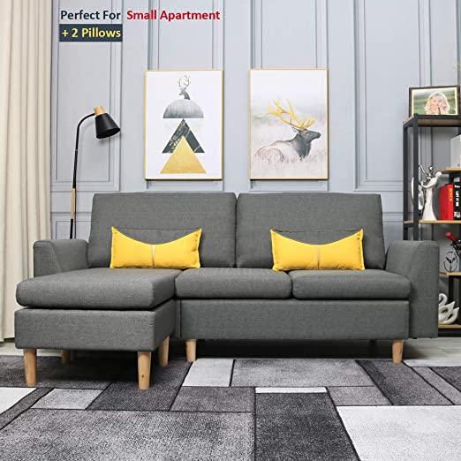 Amazon.com: Best-Living Furniture Modern Linen Fabric L-Shaped .