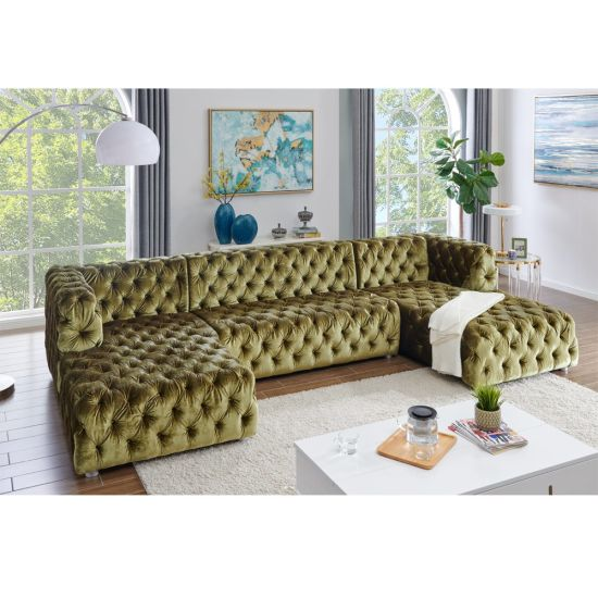 China High Quality Velvet Fabric Button Tufted U Shaped Sectional .