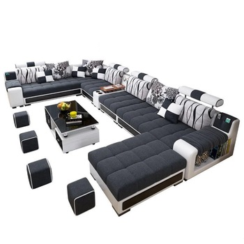 Factory wholesale fabric U shaped sectional sofa, modern European .