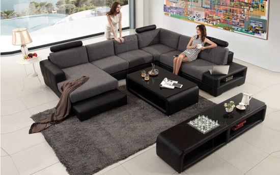 China Modern Style Genuine Leather U Shaped Sectional Sofa - China .