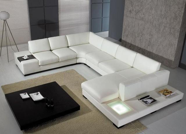 Modern U-Shape Sectional Sofa in White Bonded Leather - Modern .