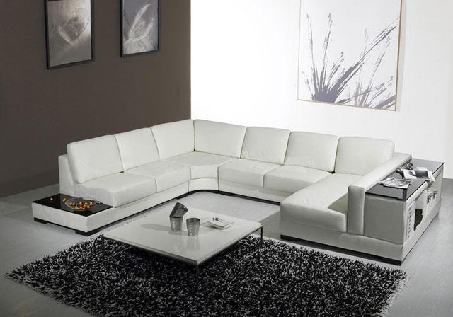 White Leather U Shaped Sectional Sofa with Storage - Modern .