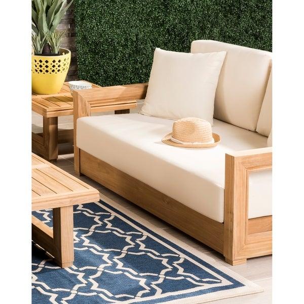 Safavieh Couture Outdoor Montford Teak Brown/ Beige 2-Seat .