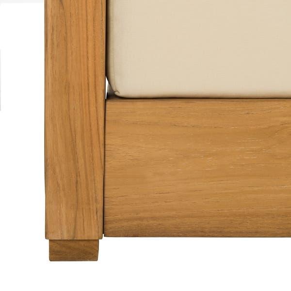 Shop Safavieh Couture Outdoor Montford Teak Brown/ Beige 2-Seat .