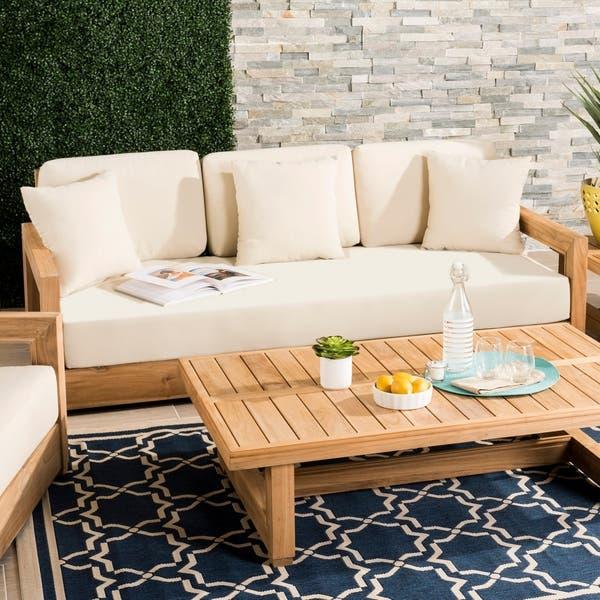 Shop Safavieh Couture Outdoor Montford Brown/ Beige 3-Seat .