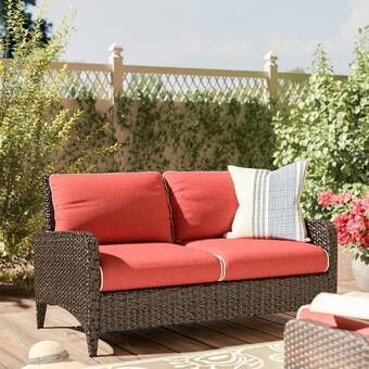 World Menagerie Mosca Patio Loveseat with Cushions & Reviews .