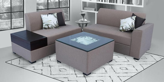 Buy Nanaimo RHS Sofa With Coffee Table in Brown Clolour by Muebles .