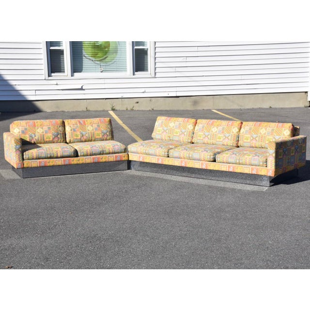 Large Selig Chrome Sectional Sofa | Chairi