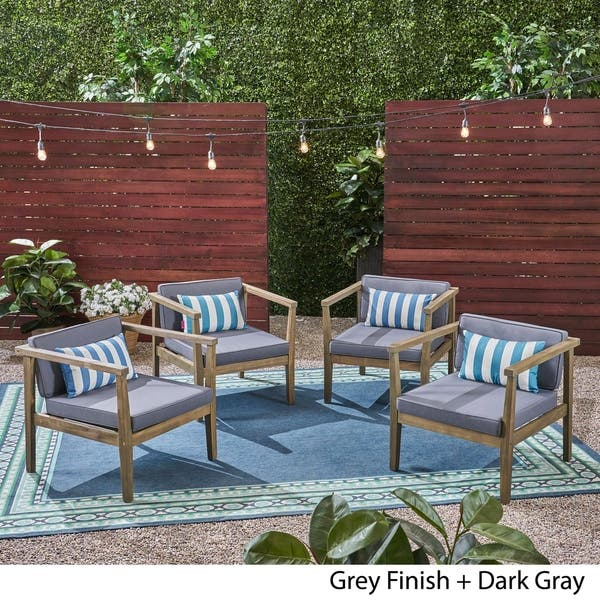 Shop Newbury Outdoor Acacia Wood Club Chairs with Water-Resistant .
