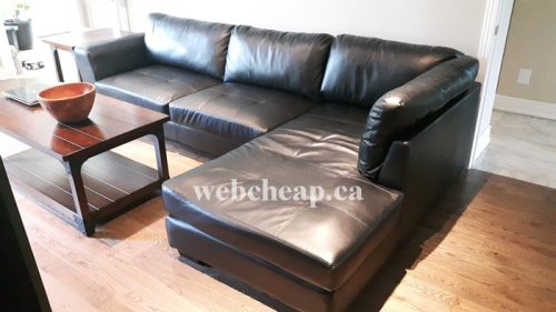 2 Piece leather sectional couch | Webcheap.